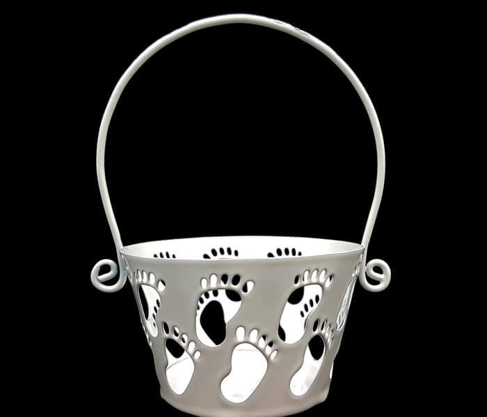 1006-990B Bomboniere whie foot basket 6.5cmdiameterx10cm high .65 per piece