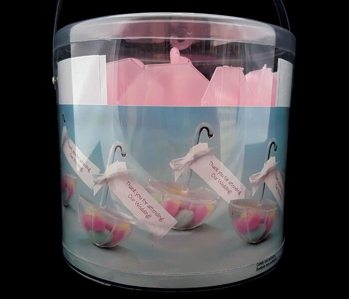 120-520P Bomboniere umbrella Pink 24pce 7cm diameterx11cm high comes with ribbon _ name tags .50 per piece 12.00 per packa