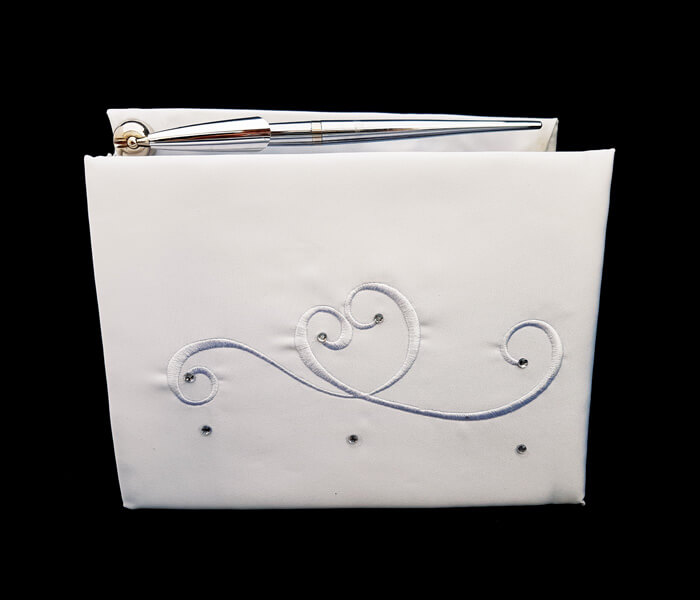 BR-9038 Guest Book with Pen Set Curlicue Comes with Bride _ Groom Family Pages Bride _ Groom Attendants Pages with 60 Pages for Guests to Sign 12.00