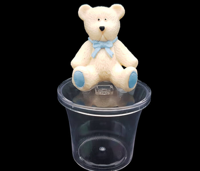 EL-340 Bomboniere Blue Teddy Bear Container -4pce 6cm round 9cm high 1.25per piece 5.00 per packet