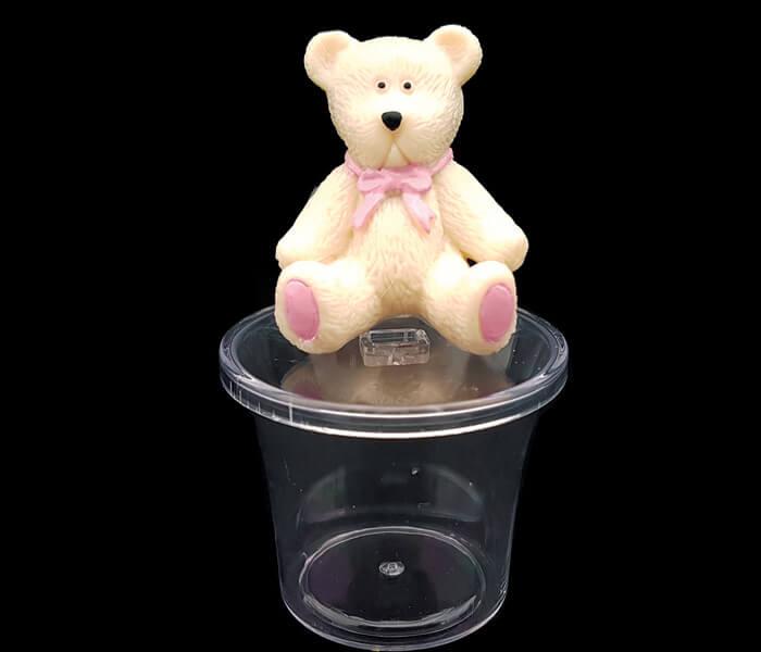 EL-341 BombonierePink Teddy Bear Container -4pce 6cm round 9cm high 1.25per piece 5.00 per packet