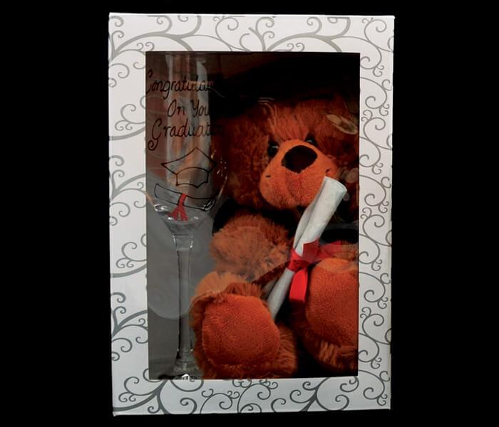 G3915 - $16.00 Champagne Flute _ Graduation Bear Set
