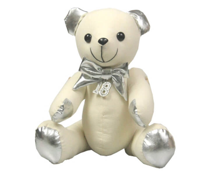 Sbear-18S $10.00 Silver Metalic Message Bear with 18 Diamond Charm 27cm