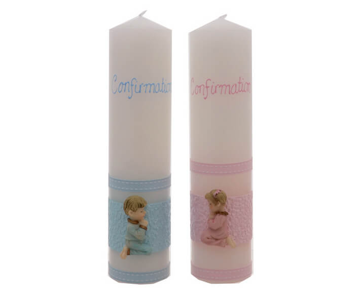 Z1012-CONP-Pink, CONB-Blue,$13.75 9x2 inch Australian Made _ Decorated Candle
