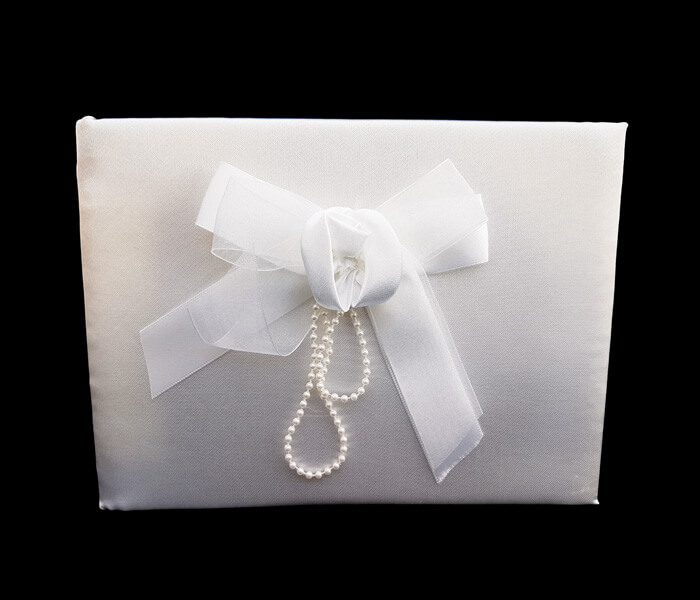 br-1099 1 Only Guess Book Bow Rose with Pearls 8.5