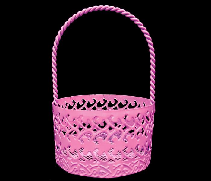 1006-168P bomboniere Pink round basket 5.5cm diameterx9cm high .65 per piece