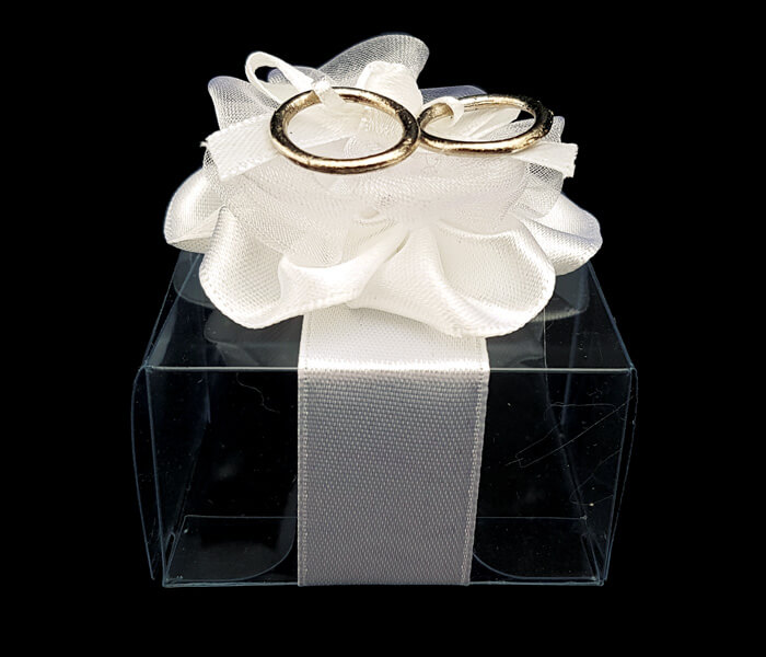 1006-801 Acetate box with gold rings 6pce 3cm high _5cm with lollies not included 1.25 per piece 7.50per packet (6)1