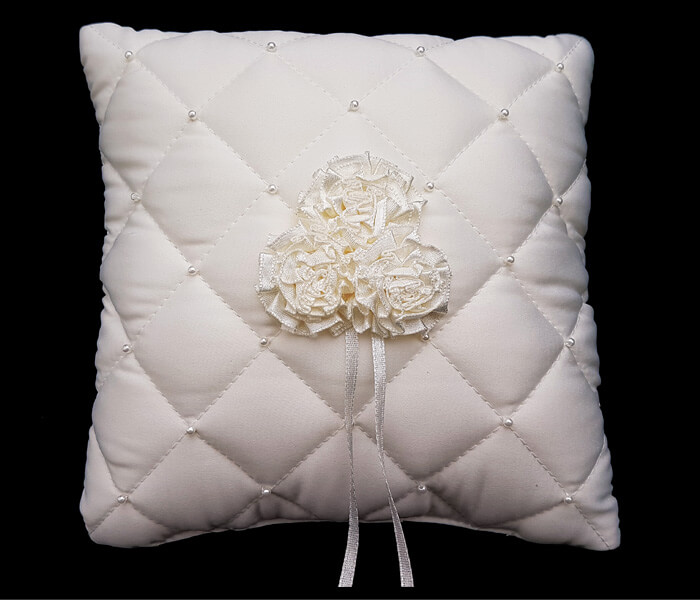 120-338 Ivory Ring Pillow Quilted with flowers $8.50