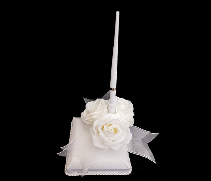 BR-2844 Pen with 3 organza ribbon roses on base 13.95