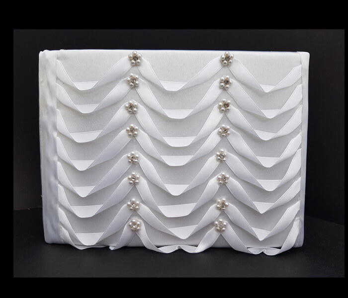 BR-4111 4 Only Guest Books Diamante Pearls loops Comes with Bride _ Groom Family Pages Bride _ Groom Attendants Pages with 60 Pages for Guests to Sign 12.95