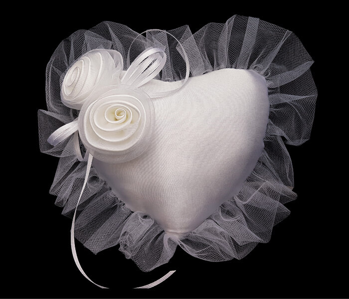 BR-6917 White Heart Shaped Ring Pillow with two large Ribbon Roses 11.95