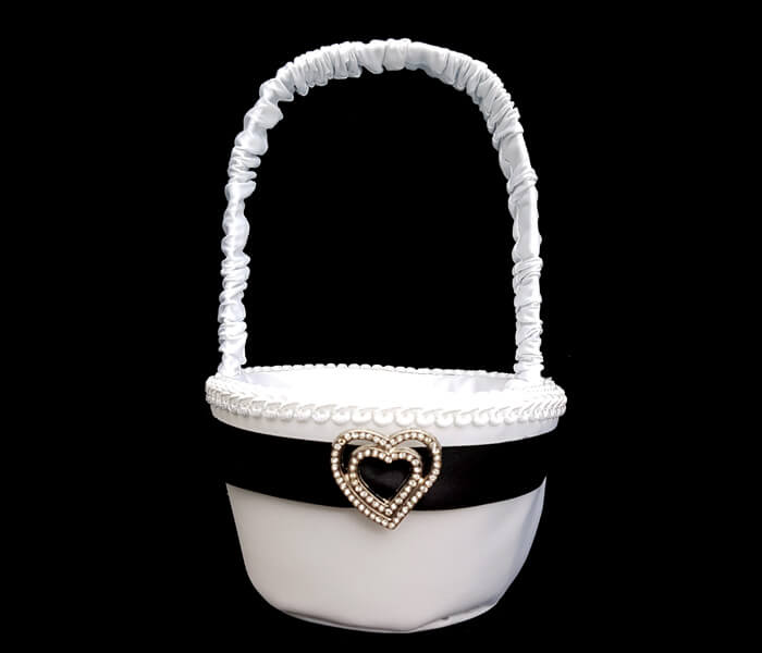 EL-504 Flower Baskets Black ribbon with heart 10.50
