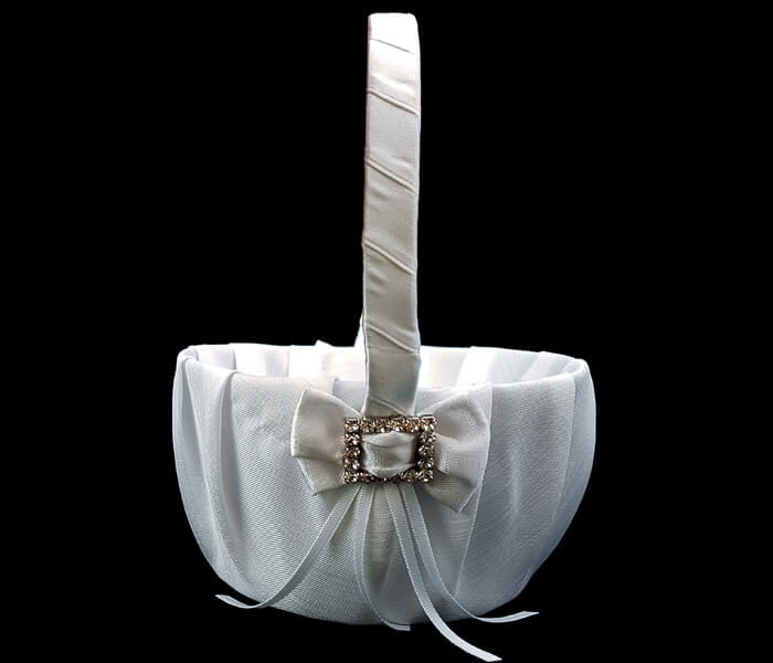 KW6C2-1WHITE KW6C2-02 lVORY Flower basket with Diamante Square 10.00