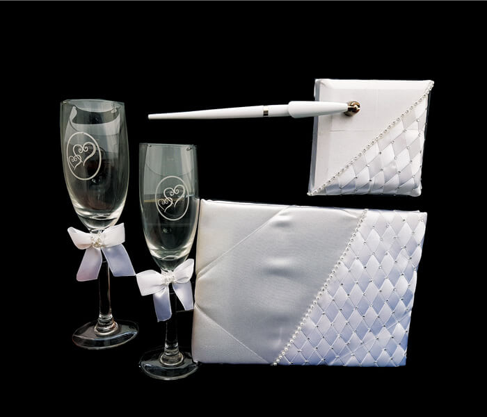 VL0031 Ensemble Rhinestone Woven Set comes with Flutes, Guest Book and Pen 38